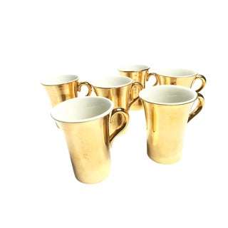 "Mid-Century ""Hall"" 22 Karat Ceramic Gold Mugs - Set of 6"
