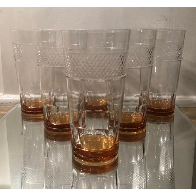 Set of 6 Art Deco Antique Hawkes Amber Cut Crystal Highballs For Sale In Los Angeles - Image 6 of 6