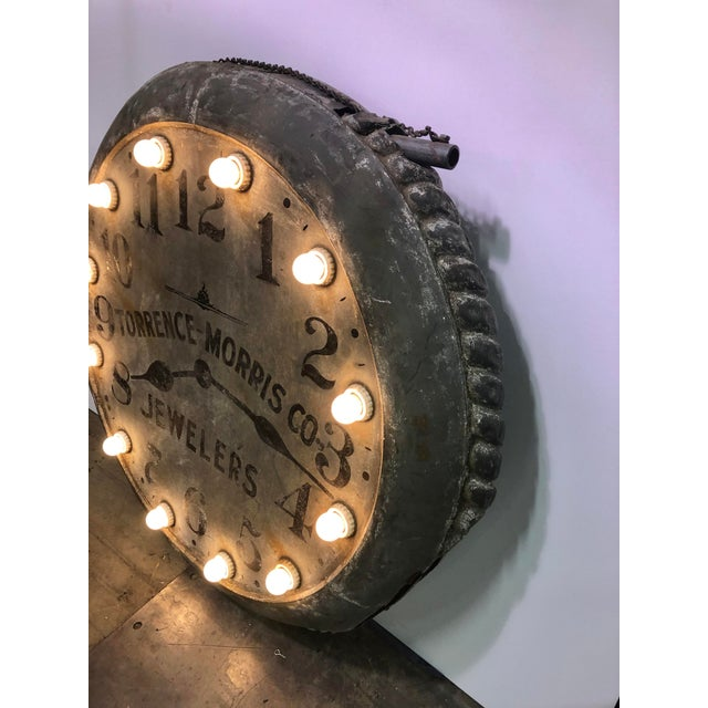 Metal 1910s Light Up Double Sided Jewelry/Clock Sign For Sale - Image 7 of 8