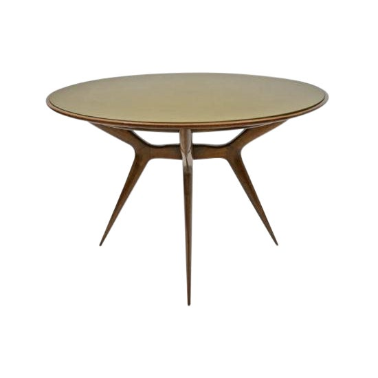 Mid-Century Circular Wood Center Table With Reverse Painted Gold Glass Top For Sale