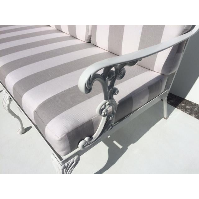 Metal Garden Sofa With Sunbrella Cushions For Sale - Image 4 of 13