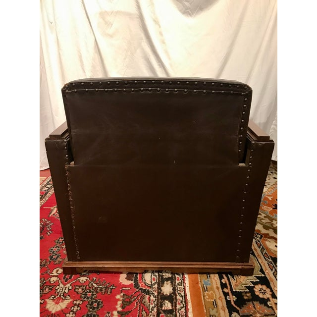 French Art Deco Leather Train Sleeper Club Chairs For Sale - Image 9 of 12