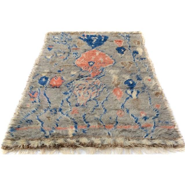 "Moroccan Arya Brendon Gray & Blue Wool Rug - 4'8"" x 6'9"" - Image 7 of 8"