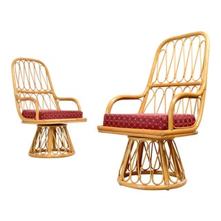 Vintage Rattan Franco Albini Style Swivel Chairs - a Pair For Sale
