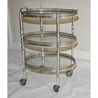 French Silver Plated Three-Tier Bar Serving Cart Preview