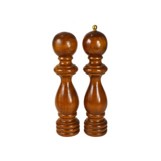 Vintage Catalina Tall Wooden Salt Shaker & Pepper Mill Grinder Set For Sale