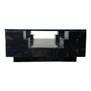 Architectural Square Black Italian Marble and Glass Coffee Table For Sale