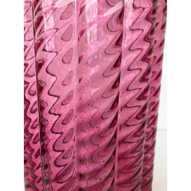 1980s 1980s Fluted Textured Pink Glass Vase For Sale - Image 5 of 8
