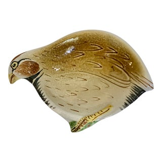 Vintage Italian Majolica Terra-Cotta Partridge Bird Bowl Dish For Sale