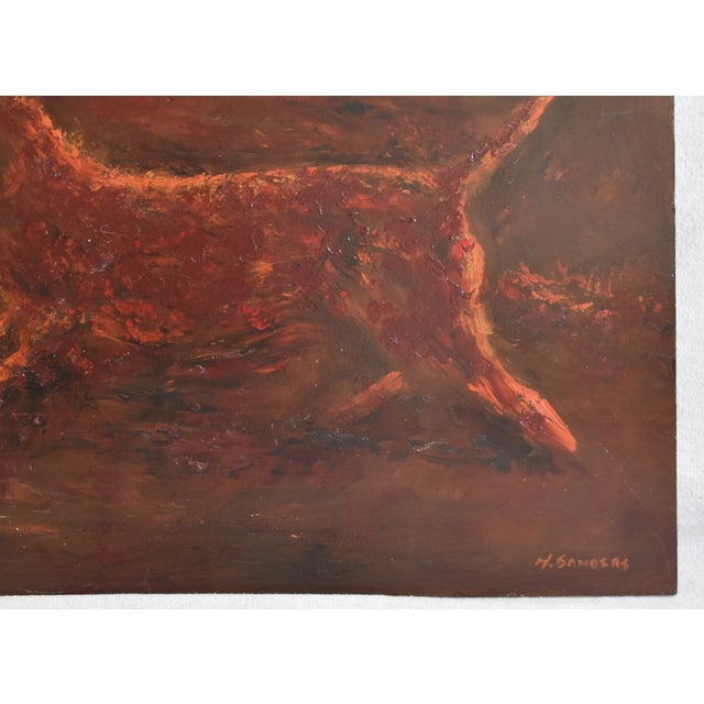 Abstract Midcentury Folk Art Running Rusty Dog Oil Painting by M Sanders For Sale - Image 3 of 9