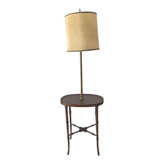 Vintage Burled Walnut & Bamboo Styled Floor Lamp For Sale