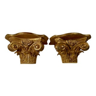 Pair of Antique Corinthian Half Capital Gilded Wood Wall Brackets For Sale