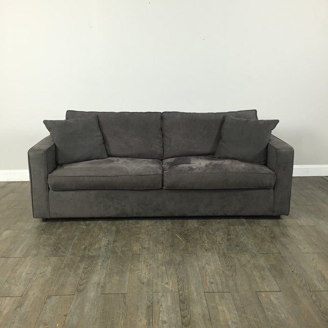 Room & Board Charcoal Suede Sofa - Image 2 of 11