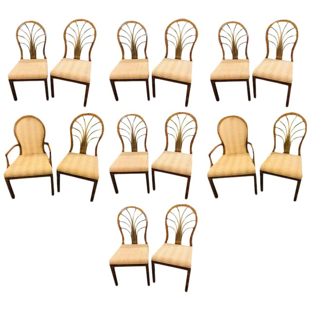 Set of 14 Mid-Century Modern Master-Craft Bronze Mounted Burl Wood Dining Chair For Sale