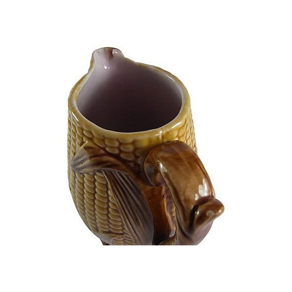 Rare color on this early English corn pitcher. Super condition for majolica of this age with only a couple of small nicks...