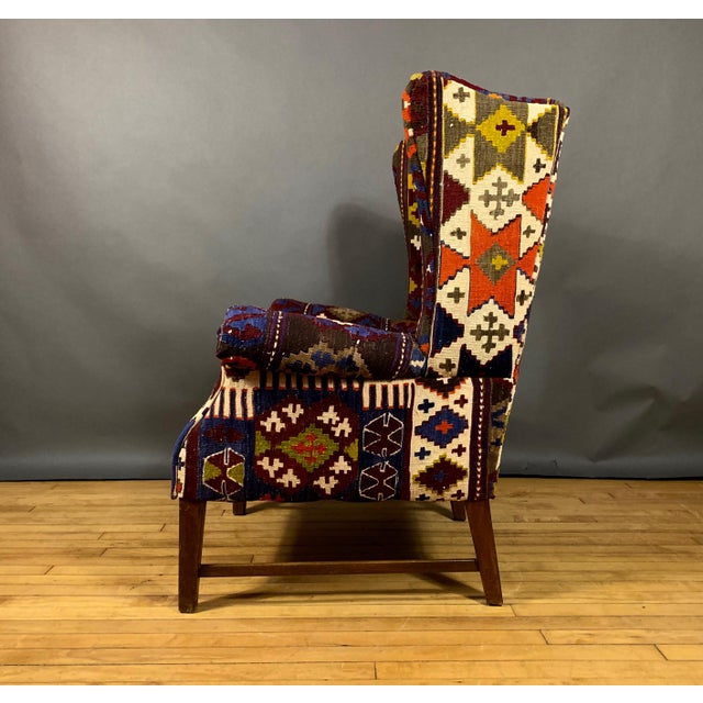 1940s Danish Wingchair, Semi-Antique Turkish Kilim Cover For Sale - Image 4 of 12