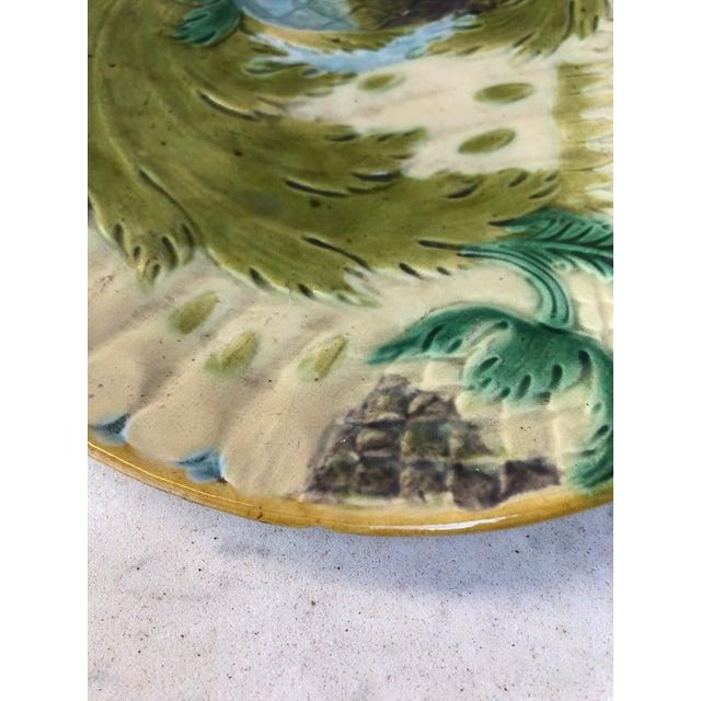 Unusual Majolica asparagus plate attributed to Saint Amand, circa 1880.
