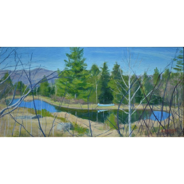 """Blue """"Canoe With Pond and Mountains"""" Original Stephen Remick Painting For Sale - Image 8 of 9"""