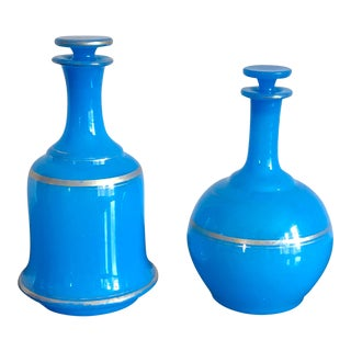 French Blue Opaline Glass Decanters-A Pair For Sale