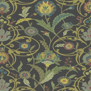 "Lewis & Wood Ipek Damask Black Gold Extra Wide 52"" Damask Wallpaper Sample For Sale"