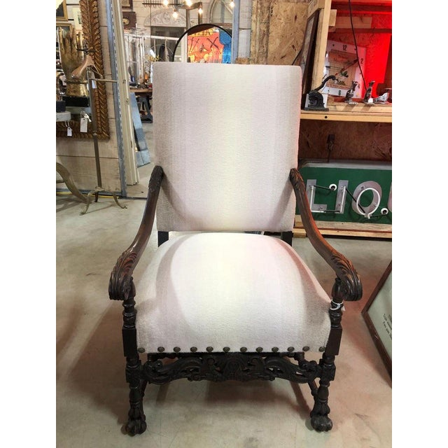 Antique arm chair with new Holly Hunt wool upholstery.