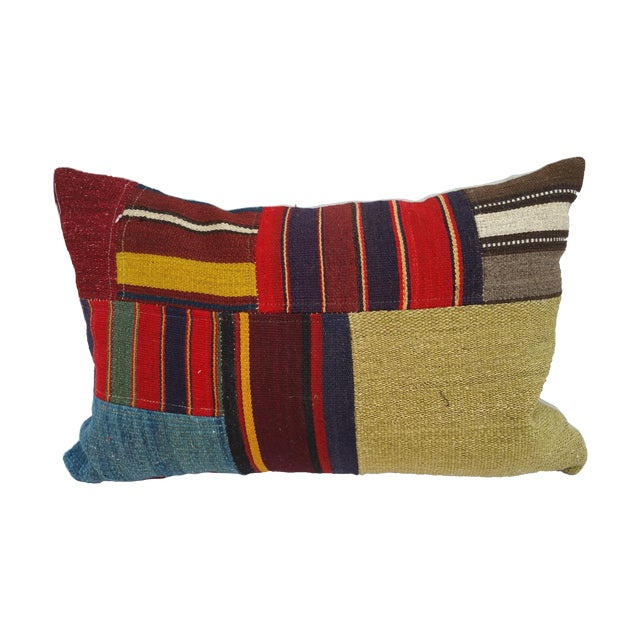 Turkish Earth Tone Patchwork Pillow - Image 1 of 5