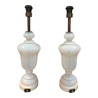 Seguso Murano Glass Lamps, Pair, 1950s For Sale