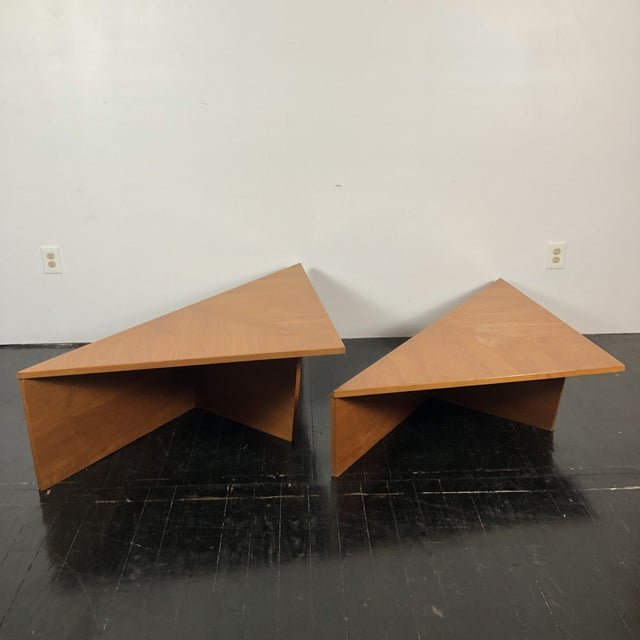 Wood Danish Laurits M Larsen Teak Triangle Coffee Tables - a Pair For Sale - Image 7 of 13