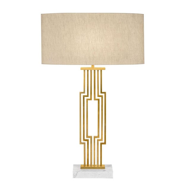 Provence Brushed Brass Table Lamp With Shade For Sale - Image 4 of 4