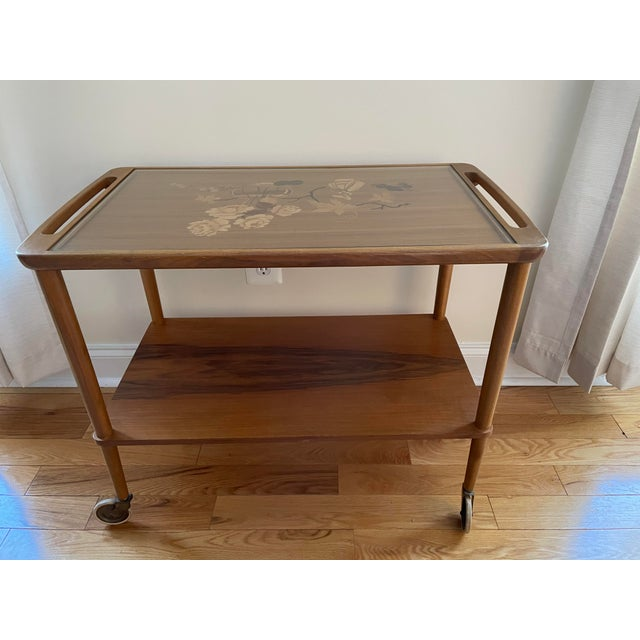 Mid 20th Century German Marquetry Tea Bar Cart For Sale - Image 9 of 10