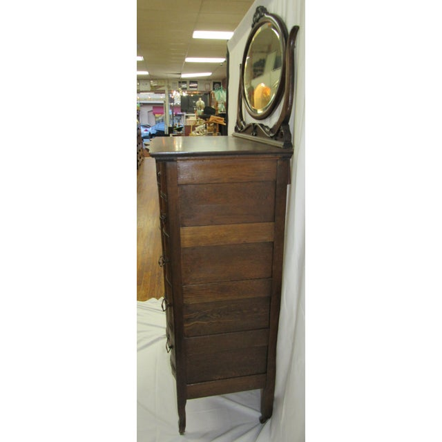 1900s Traditional Oak Highboy Dresser With Mirror For Sale In Los Angeles - Image 6 of 12