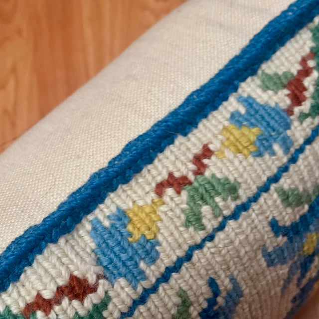 1950s Shabby Chic Handmade Needlepoint Pillow For Sale - Image 9 of 13