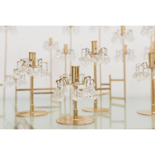 J. & L. Lobmeyr Brass and Swarovski Crystal Candlesticks - 15 Pc. For Sale In San Francisco - Image 6 of 11