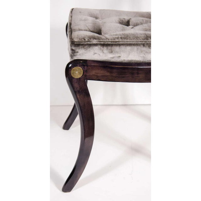 Elegant 1940s Hollywood Side Chair with Gilt Brass Accents For Sale In New York - Image 6 of 8
