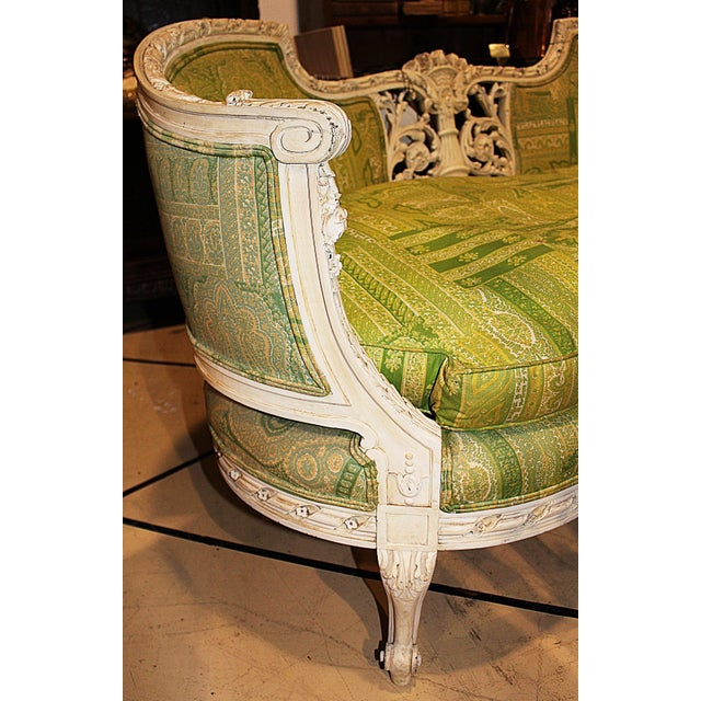 19th Century Green French Carved Loveseat - Image 7 of 8