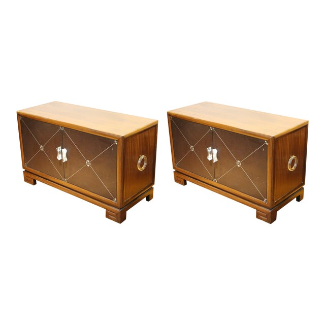 Grosfeld House Art Deco Mahogany Low Cabinets or Nightstands - a Pair For Sale