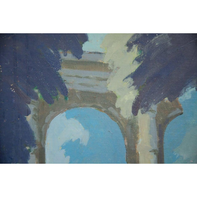 Late 19th Century Antique Classical Courtyard Signed Oil on Cardboard Painting For Sale - Image 4 of 8