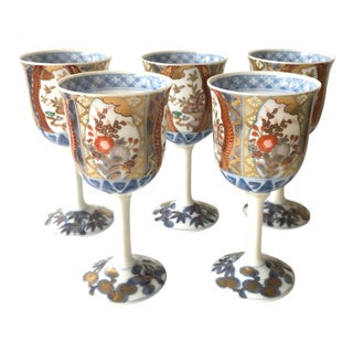 Imari Wine Glasses, Set of 5 For Sale