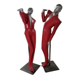 Art Deco English Revival Chrome and Resin Le Garcon Mannequins by Lindsey B. - Pair For Sale