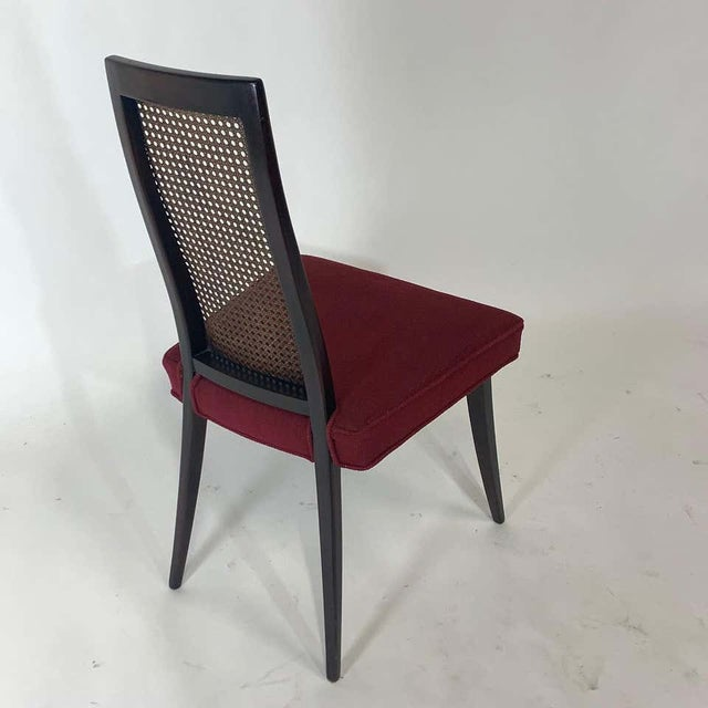Asian Set of 4 Harvey Probber Cane and Ebonized Mahogany Model 1055 Dining Chairs For Sale - Image 3 of 9