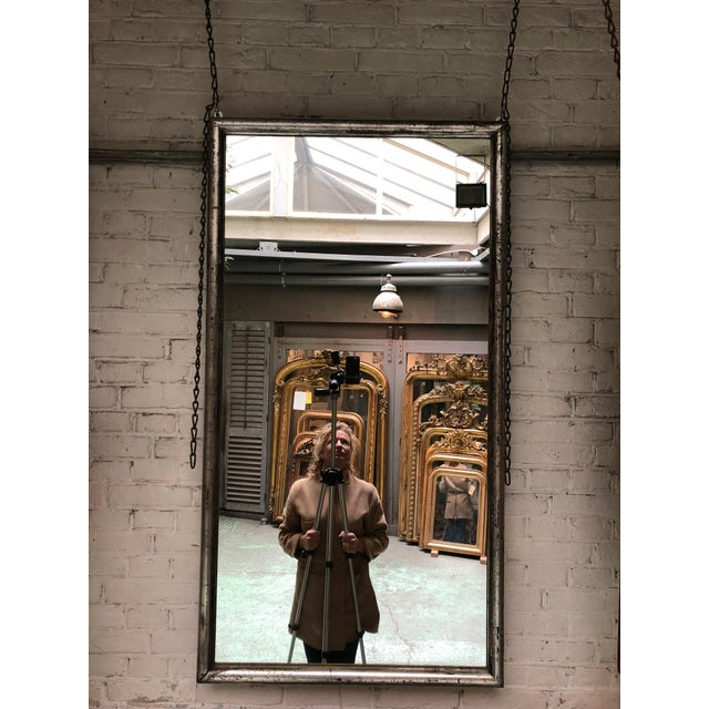 19th century rectangular mirror, silver leaf gilded with its original mirror-glass, Provenance France