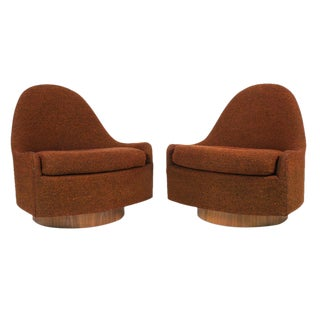 Milo Baughman for Thayer Coggin Teardrop Swivel & Tilt Slipper Chairs - a Pair For Sale