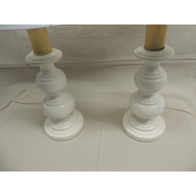 Mid-Century Modern White Lamps - Pair - Image 4 of 4