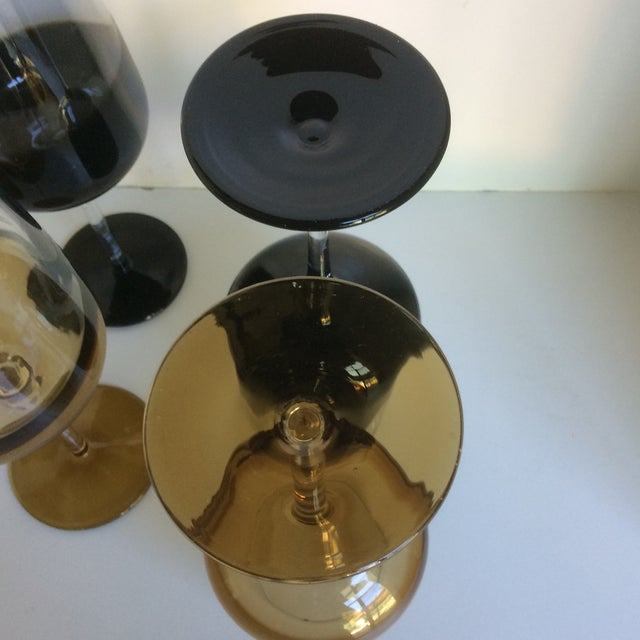 Black Mid-Century Modern Style Reverse Ombré Black & Amber Brown Wine Glasses - Set of 6 For Sale - Image 8 of 13
