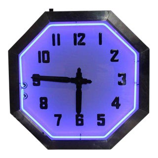 1930s Large American Double-Sided Chrome Neon Clock