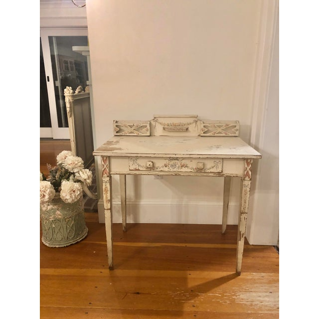 Antique Shabby Chic Hand Painted Floral Writing Desk For Sale - Image 11 of 11