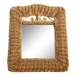Vintage Small Rattan Mirror For Sale