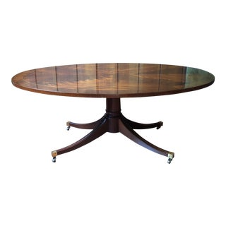 Oval Duncan Phyfe Style Mahogany Coffee Cocktail Table on Wheels