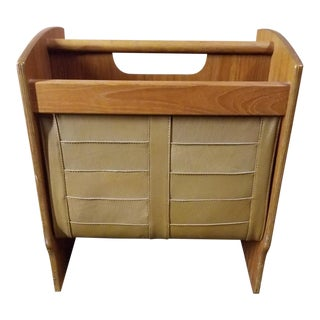 Mid Century Modern Scandinavian Wood and Leather Magazine Rack For Sale
