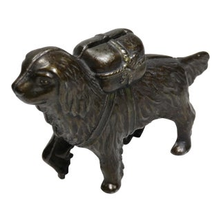 Antique Cast Iron St Bernard Dog Coin Bank For Sale